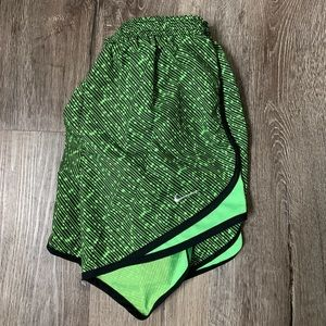 Nike lime green and black running shorts